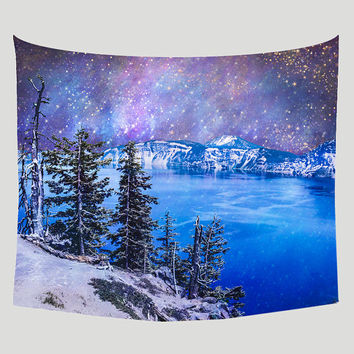 Space Tapestry, Surreal Wall Tapestry, Top of the World, Nature Tapestry, Dreamlike, Crater Lake, Mountains Tapestry, Nebula, Outerspace