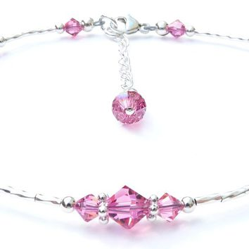 Pink Tourmaline October Silver Handmade Crystal Birthstone Beaded Anklets Bracelets