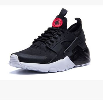 """NIKE"" Women Casual Running Sport Shoes Sneakers Huarache black-red logo"