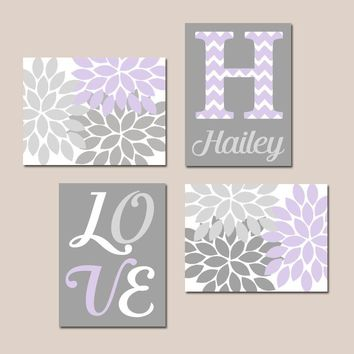 LILAC GRAY Nursery, Baby GIRL Wall Art, Canvas or Prints, Love Quote, Flower Nursery Decor, Girl Bedroom Decor, Set of 4, Crib Decor