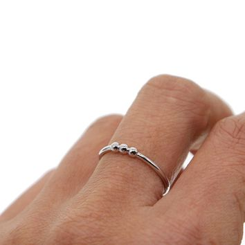 minimal cute silver ring size 6 7 8 thin skinny girl women gift three tiny balls delicate 925 sterling silver lovely jewelry