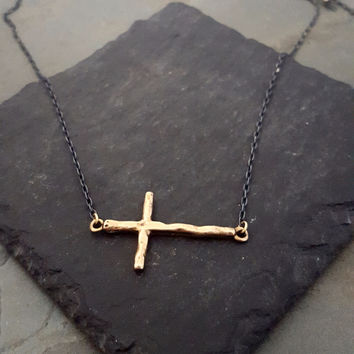 Bronze Gold SIDEWAYS Cross Black Chain Necklace, Rocker Chic Jewelry