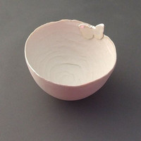 Handmade Porcelain Bowl with Pearly Butterfly - Large