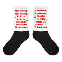Funny Christmas socks, gift for men women, Clark Griswold Christmas Vacation quote, Merry Christmas Kiss My Ass