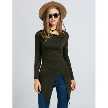 Fashion Women's Long Sleeve Cowl Neck Handkerchief Asymmetrical Hem Slim Blouse Top