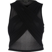 Black mesh ruched wrap front crop top