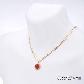 "Jewelry Kay style Men's Hip Hop Red Ruby CZ Pendant 20"" / 22"" Cuban Chain Necklace Set CP 220 G"