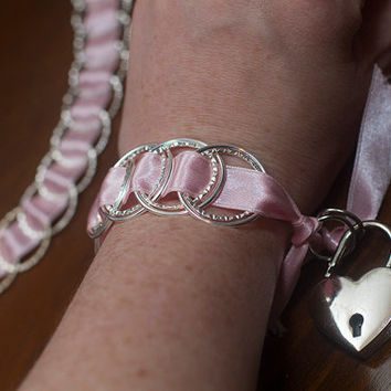 Pink and Silver Collar and Cuff Set, BDSM Collar, BDSM Cuffs, Slave Collar, Bondage Set