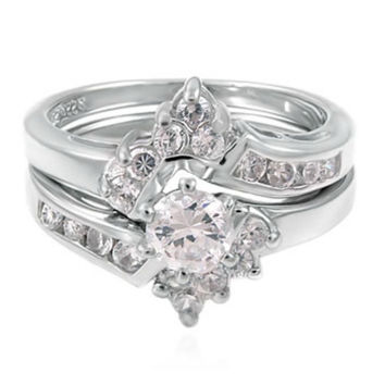 Sterling Silver Wedding Ring Set with Halo CZ Solitaire Engagement Ring and Band size 5-9
