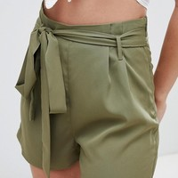 Boohoo Tie Waist Shorts at asos.com
