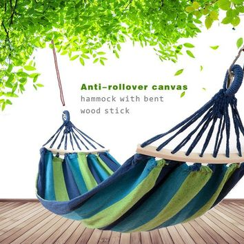 Portable Durable Canvas Camping Hammock Thickening Widen Single hammock Swing Bed with Wooden