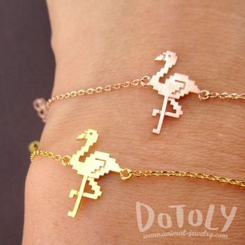 Pixel Flamingo Bird Shaped Charm Bracelet in Gold or Rose Gold