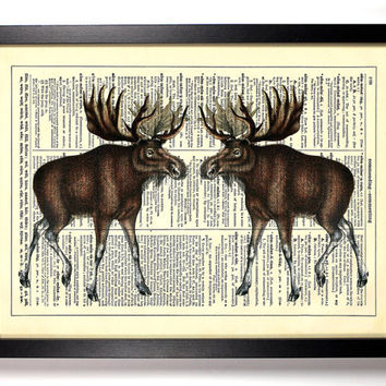 Forest Moose Vintage Illustration, Eco Friendly Home, Kitchen, Bathroom, Nursery Decor, Dictionary Book Print Buy 2 Get 1 FREE