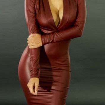 Red Leather Deep V Long Sleeve Bodycon Dress