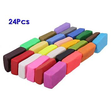 Mixed Colour 24 Soft Sculpey Oven Bake Polymer Clay Modelling molding Block