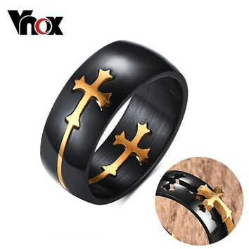 Vnox Separable Cross Ring for Men Woman Black Color Stainless Steel Cool Male Casual Remove Design Christ Prayer Jewelry