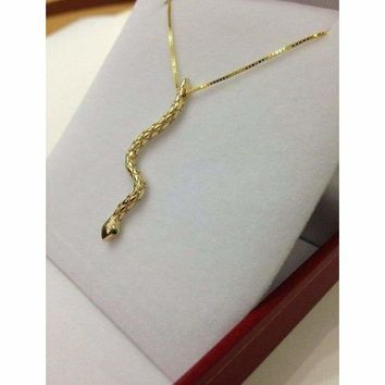 Luxinelle Gold Snake Pendant - Detailed Serpent Necklace with Green Tasvorite 14K White, Yellow or Rose