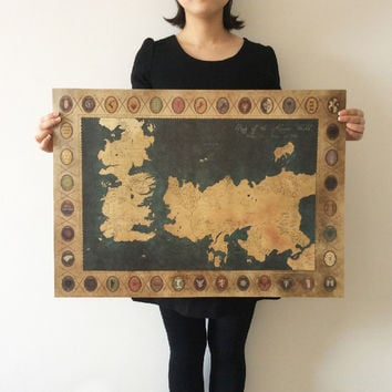 XN-004 retro Kraft Game of Thrones Map movie Poster Wall art crafts sticker Living Room Paint Bar Cafe Decor 71x51cm Free ship