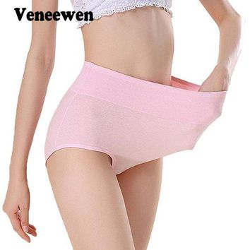 PEAPYV3 Women Sexy cotton breathable Panties Plus Size High Waist Women's Underwear Panty Female Body Shaping Briefs M-XXXL