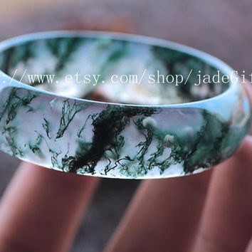 Free shipping - good luck Hand carved AAAA Grade Real Natural green jade Floating flowers women bangle - jade GIFT