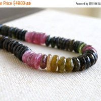 Sale Tourmaline Gemstone Tyre Tire Faceted Heishi Multi 8.5mm 42 beads 1/3 strand Wholesale