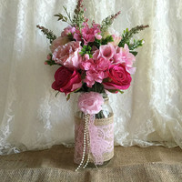 pink burlap and lace covered mason jar vases - wedding decoration, bridal shower decoration, country chic decoration