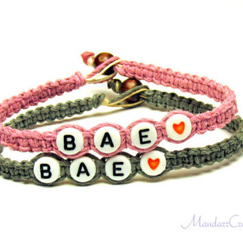 Couples or Friendship Bracelets, BAE, Before Anyone Else, Light Pink and Grey Hemp Jewelry