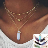Natural Opal Gemstone Heart Multi Layer Choker Necklaces Bohemian Crystal Point Pendant