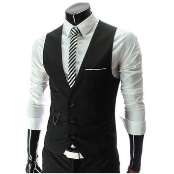 Hot Sale! 2016 Autumn Men's Slim Fit Dress Suit Vest Waistcoats, Men Gilet Colete Fashion chaleco Hombre, Brand New