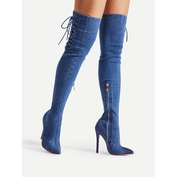 Lace Up Side Pointed Toe Denim Boots