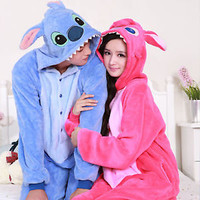 DISNEY STITCH COSPLAY COSTUME pajamas pyjamas Onesuit sleepwear Coral fleece