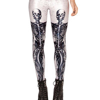 White Skeletons Print Leggings