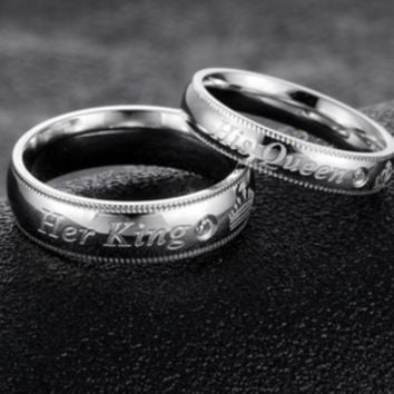 Her King His Queen Titanium Steel Couple Ring