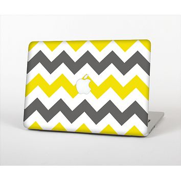 The Gray & Yellow Chevron Pattern Skin Set for the Apple MacBook Air 13""