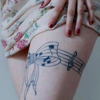 Music note Tattoos on Thigh