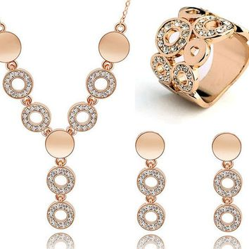 Cheap Wedding Jewelry Sets Circle Design Long Pendant Necklace Choker Finger Ring Austrian Crystal Dangle Earrings Set for Women