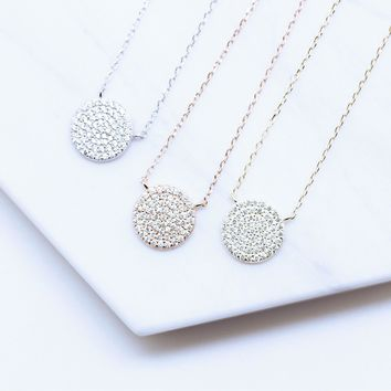 12mm Diameter Pave Disc Round and Circle Diamond Simulant CZ Sterling Silver Chain Necklace