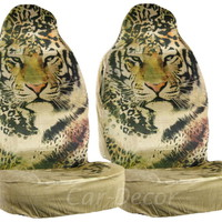 Designer Tiger Face Car Seat Covers Beige 2 Pc
