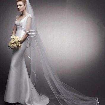 Two Layers Long Veils Wedding Bridal with Comb