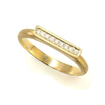 Unique Diamond Ring - 14K / 18K Solid Gold Ring, Art Deco Engagement Ring, Gold Rings for Women, Gold Wedding Band, Vintage Rings