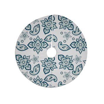 "Gukuuki ""Batik Paisley"" Teal White Tree Skirt"