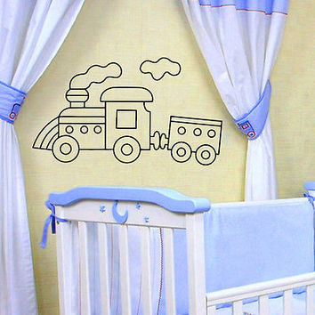 WALL DECAL VINYL STICKER CARTOON FUNNY TRAIN ROOM NURSERY DECOR SB267