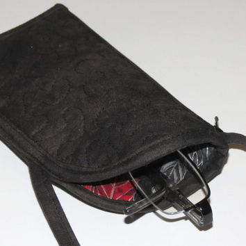 Quilted Eyeglass or Phone Case with Side Pockets, Zippered, Security Wallet