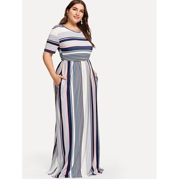 Plus Contrast Striped Hidden Pocket Dress Multicolor
