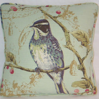 "Mint Green Sparrow Bird Print Throw Pillow Cover and Insert 17"" Square Cushion  Aqua  Toile Splendor Linen Cherry Blossoms  ( D ) Ready Ship"