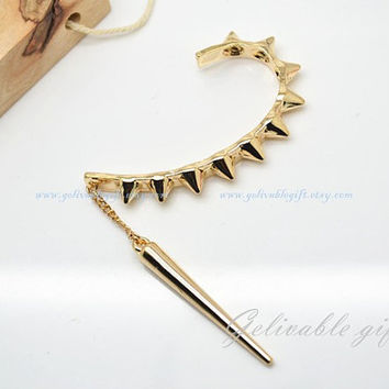 Arrow Ear cuff earrings, Antique golden arrow  tassels ear cuff earring,no piercing 1 pcs EAR03