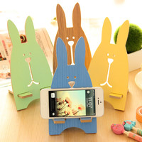 Wooden Creative Phone Gifts Cute Rabbit Cartoons Lovely Rack = 4877789636