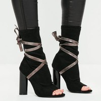 Missguided - Black Ankle Tie Peep Toe Strappy Boots