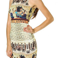 Ancient Egypt Print Scoop Neck Midi Dress -Pharaoh's Princess Painting