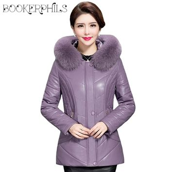 2017 Women Winter Jacket Hooded Fur Collar Plus Size Winter Leather Coat Thick Warm Slim Cotton-Padded Female Parkas Outwear 5XL